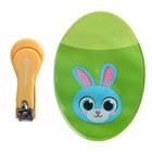Маникюрные щипчики детские с чехлом «Зайка», цвет зелёный
