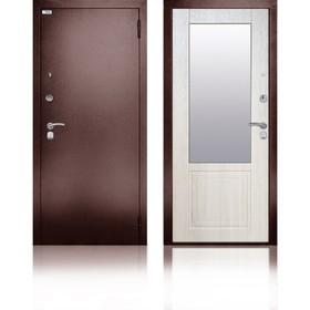 Сейф-дверь «Гала Ларче», 870 × 2050 мм, левая, цвет ларче светлый, зеркало