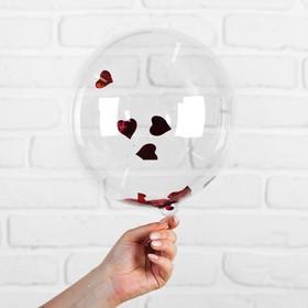 Шар полимерный 12' «Сфера», сердца, фольга, цвет красный Ош