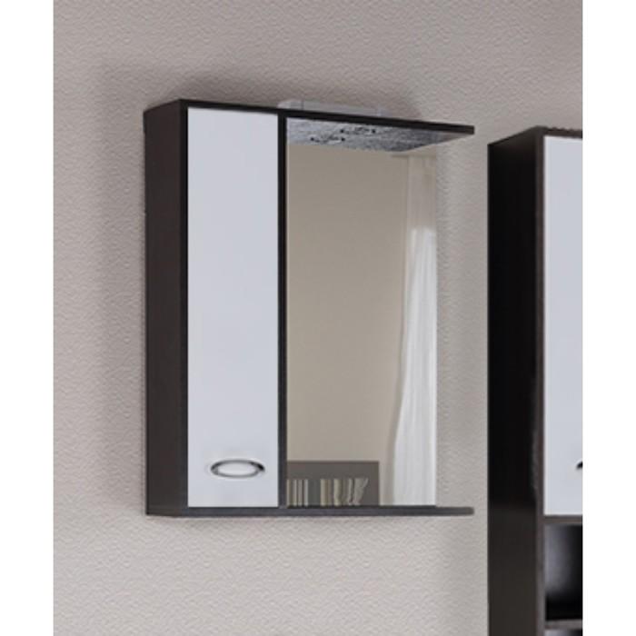 "Зеркало-шкаф ""STELLA Джакарта"" со светом - левый, коричневое, 58см"