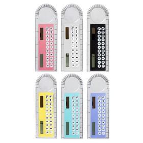 Калькулятор-линейка, 10 см, 8-разрядный, корпус прозрачный, с транспортиром, работает от света Ош