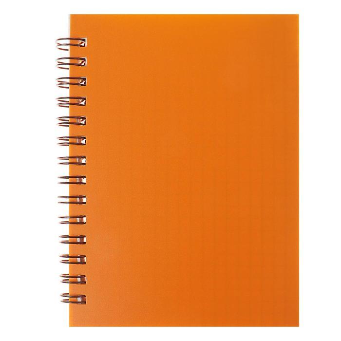 Записная книжка А6, 80 листов на гребне «Оранжевая НЕОН», пластиковая обложка