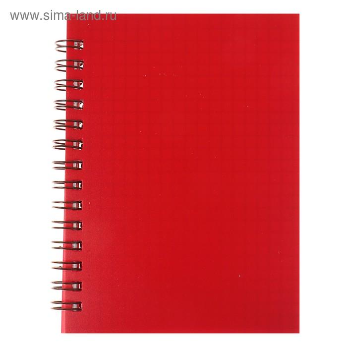 Записная книжка А6, 80 листов на гребне «Красная», пластиковая обложка