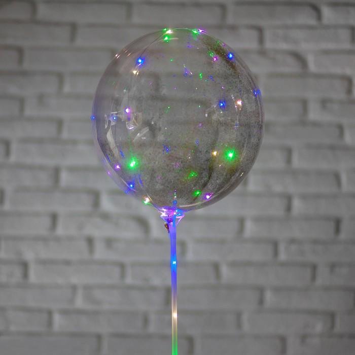"""Шар полимерный 20"""" светящийся, со светодиодной лентой, блестки, цвет серебряный"""