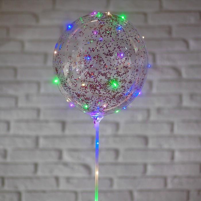 """Шар полимерный 20"""" светящийся, со светодиодной лентой, конфетти-круг, цвет красный"""