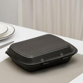 Ланчбокс одноразовый, 24,7×20,6×3,5 см, 1 секция, 130 шт/уп, цвет чёрный
