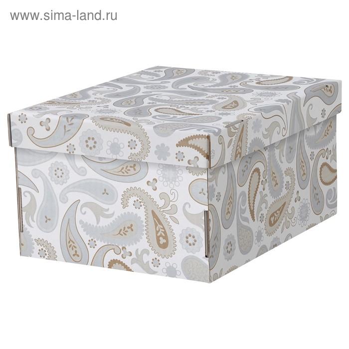 Коробка с крышкой СМЕКА, 26x32x17 см, цвет серый, с рисунком