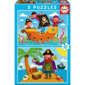 Пазлы «Пираты», 2 х 20 деталей
