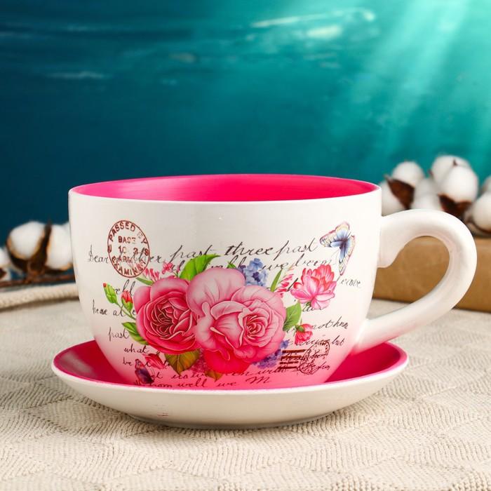 купить Горшок цветочный в форме чашки Розы 151910 см
