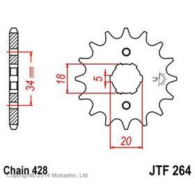Звезда передняя, ведущая JTF264, стальная Ош