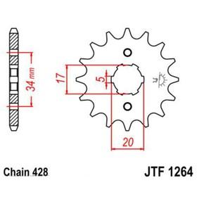 Звезда передняя, ведущая JTF1264, стальная Ош