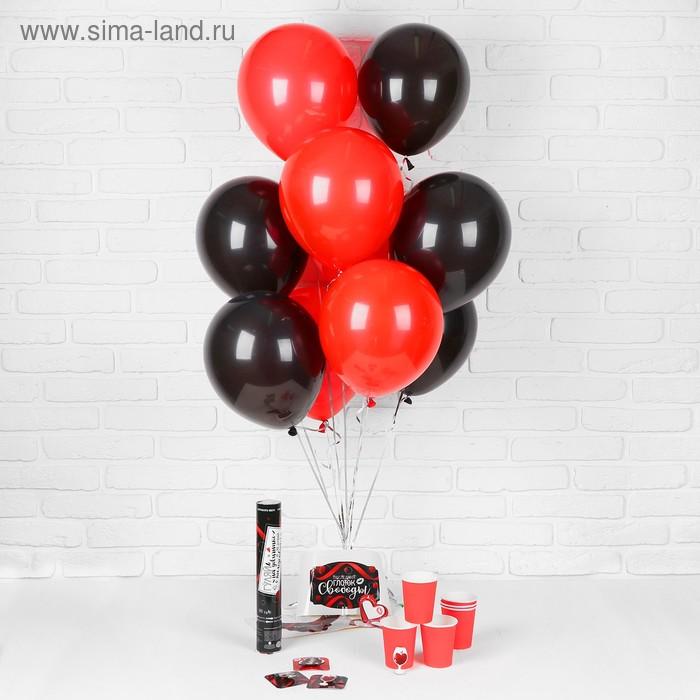 """Воздушные шары """"Девичник"""", стаканчики, хлопушка, наклейки, красный, 19 предметов в наборе"""