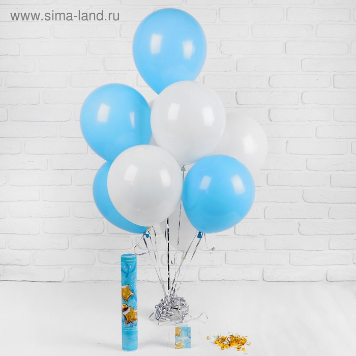 Воздушные шары «1 годик», хлопушка, открытка, лента,для мальчика, 13 предметов в наборе