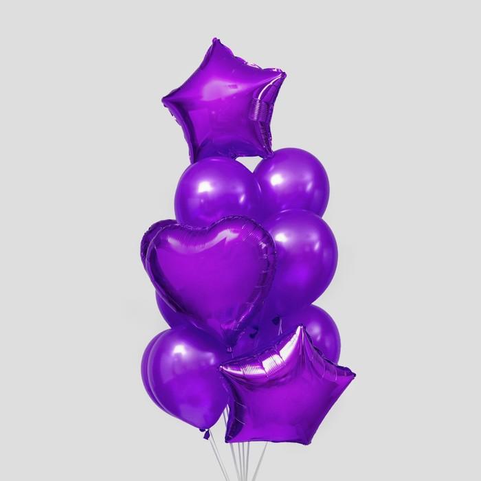 Букет из шаров «Сердца и звёзды», латекс, фольга, набор 14 шт., цвет фиолетовый