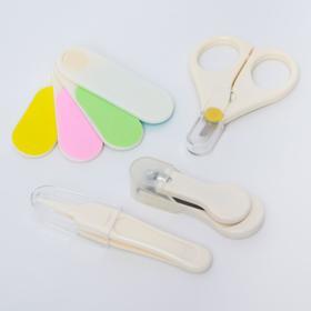 Набор маникюрный детский, 4 предмета: безопасные ножницы, щипчики с ручкой, пилочка, пинцет, цвет белый