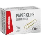 Скрепки канцелярские 28мм, золотистые 100 штук Berlingo, в картонной упаковке