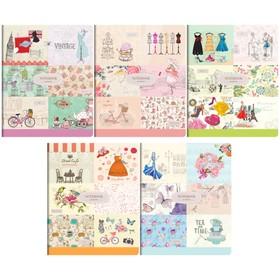 Тетрадь А5, 96 листов в клетку «Винтаж. Модный коллаж», обложка мелованный картон, ВД-лак, блок офсет, МИКС