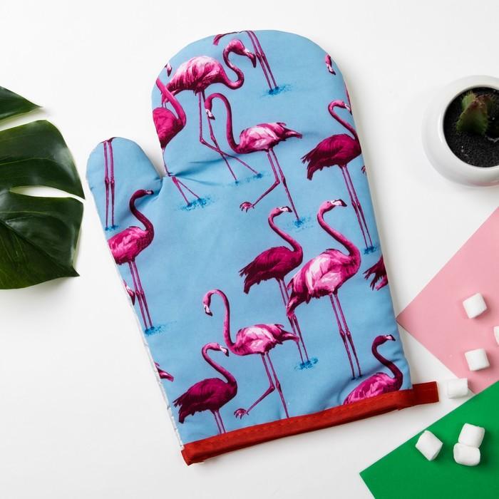 """Варежка Доляна """"Фламинго""""цв.голубой, 26*16 см, 100% п/э"""