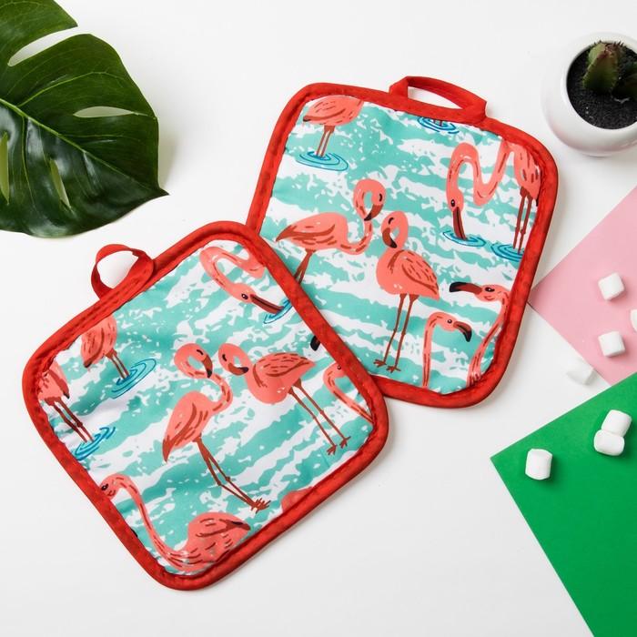 Кухонный набор Доляна Фламинго прихватка 16х16 см - 2 шт