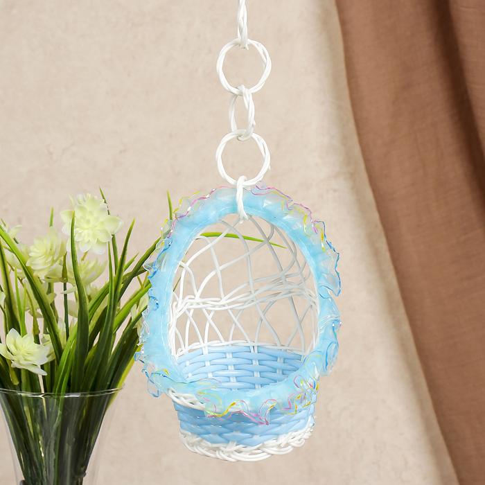 Корзина декоративная Колыбель голубая 14х10,5х10,5 см