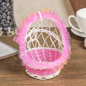Корзина декоративная 'Колыбель' розовая 14х10,5х10,5 см Ош