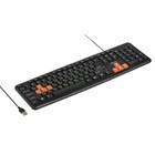 Клавиатура Dialog KS-020U, проводная, мембранная, 104 клавиши, USB, чёрно-оранжевая