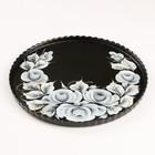 """Поднос """"Розы на черном"""" художественная роспись 28 см"""
