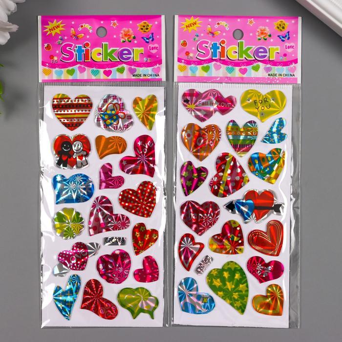 Наклейка пластик голография Сердечки МИКС 13х6,5 см