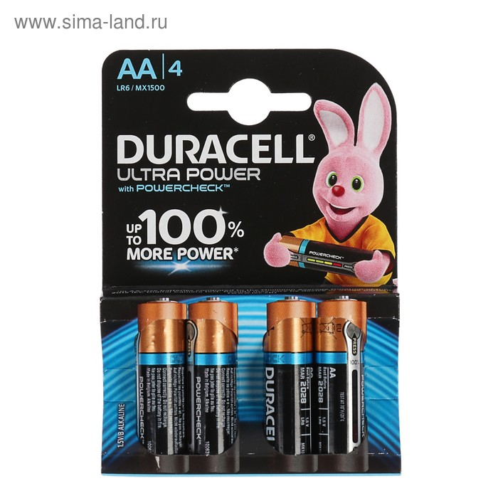 Батарейка алкалиновая Duracell Ultra Power, AA, LR6-4BL, 1.5В, 4 шт