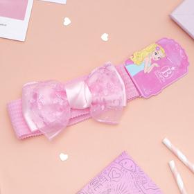 Повязка для волос 'Плюша' 3,5 см d- 29 см бант ажур, розовый Ош