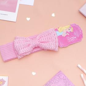 Повязка для волос 'Плюша' 3,5 см d- 29 см бант вязаный, розовый Ош