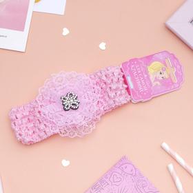 Повязка для волос 'Выбражулька' 14*5 см кружева бабочка, розовый Ош