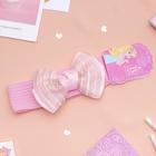 """Повязка для волос """"Плюша"""" 3,5 см d- 29 см бант фатин полосы, розовый"""