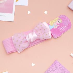 Повязка для волос 'Плюша' 3,5 см d- 29 см  бант фатин, розовый Ош