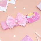 """Повязка для волос """"Плюша"""" 3,5 см d- 29 см  бант кружево, розовый"""