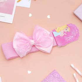Повязка для волос 'Плюша' 3,5 см d- 29 см  бант кружево, розовый Ош