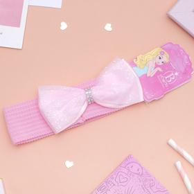 Повязка для волос 'Плюша' 3,5 см d- 29 см бант блеск, розовый Ош