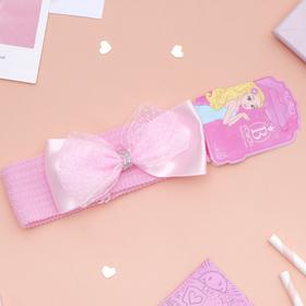 Повязка для волос 'Плюша' 3,5 см d- 29 см бант фатин лента, розовый Ош