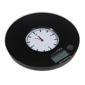 Весы кухонные LuazON LVK-703, электронные, до 5 кг, встроенные часы, чёрные Ош