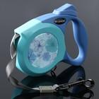 Рулетка Dogness Elegance Range, лента 4 м, до 25 кг, расцветка цветы, голубая
