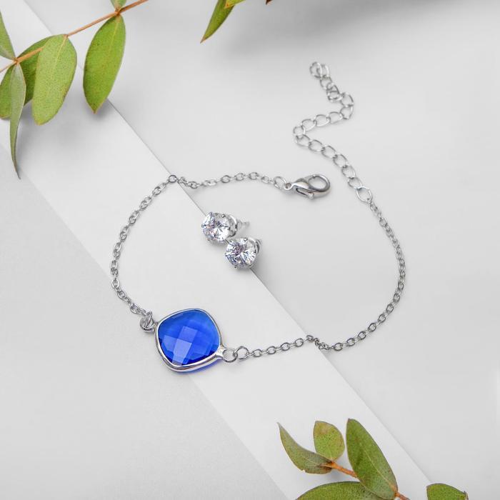 Набор 2 предмета браслет, пуссеты Модерн витраж, цвет бело-синий в серебре
