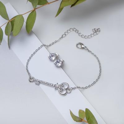 """Набор 2 предмета: браслет, пуссеты """"Модерн"""" ключик, цвет белый в серебре"""