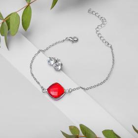 Набор 2 предмета: браслет, пуссеты 'Модерн' витраж, цвет бело-красный в серебре Ош