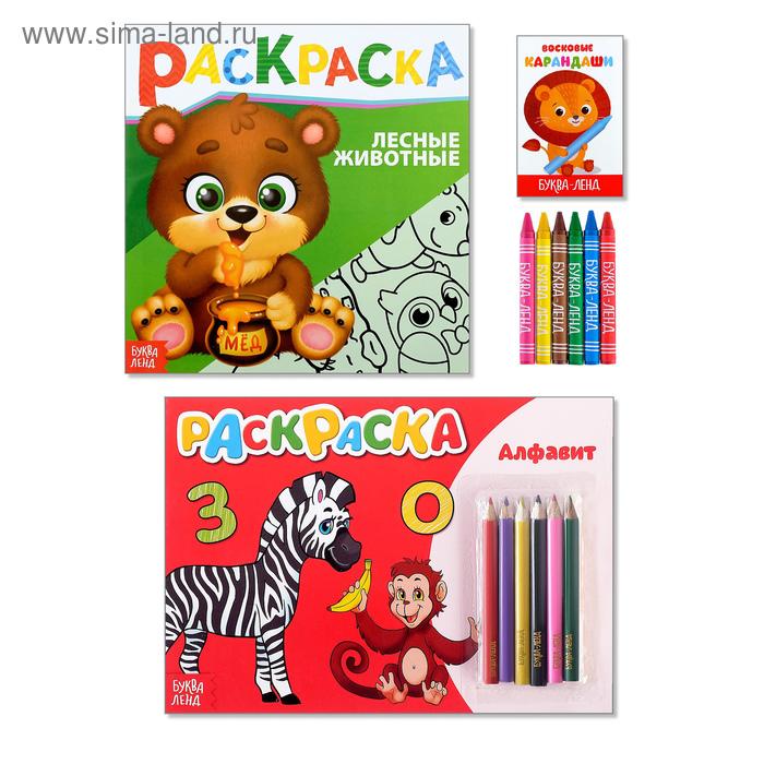Раскраски с цветными и восковыми карандашами набор «Учим ...