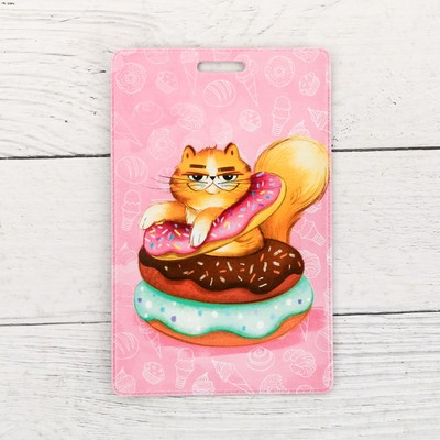 Чехол для бейджа и карточек «Кот-пончик»