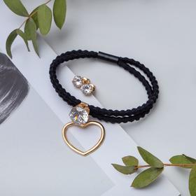 Набор 2 предмета: браслет, пуссеты 'Модерн' сердце с кристаллом, цвет чёрный в золоте Ош