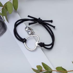 Набор 2 предмета: браслет, пуссеты 'Модерн' сердце, цвет чёрный в серебре Ош