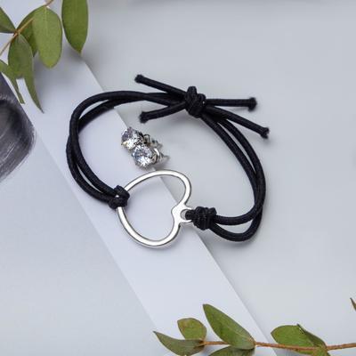 """Набор 2 предмета: браслет, пуссеты """"Модерн"""" сердце, цвет чёрный в серебре"""