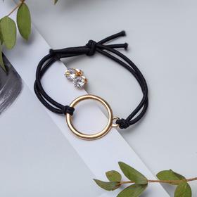 Набор 2 предмета: браслет, пуссеты 'Модерн' круг, цвет чёрный в золоте Ош