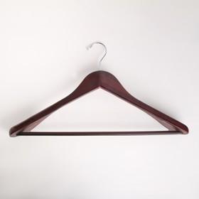 УЦЕНКА Вешалка-плечики для верхней одежды с перекладиной, размер 48-50, широкие плечики, дерево вишня
